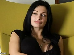 Beautiful brunette aletta fucktoys with her moist fuckbox after a sloppy interview with a pornstar company ...