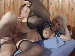 White haired granny becomes a insane slut for large youthfull man rod