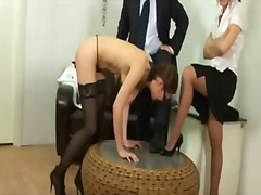 Lazy secretary stunner gets smacked by her boss