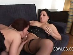 Lusty lezzie beaver gobbled and frigged in bbw movie