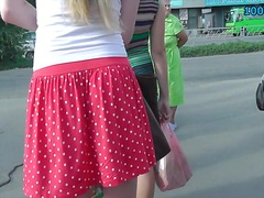 Golden-haired up the polka dot petticoat spectacular glance