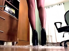 Bubble wrap trample in studded stiletto high heels and sheer hip highs