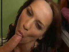 Seducive and torrid mature woman carina roman shows her blowing skills with kris slater's phat hard-on