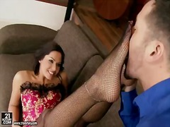 Cipriana's net pantyhose feel good for a footjob