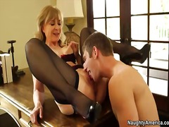 So stunning man danny wylde gets seduced to have hookup by remarkable blonde mature doll nina hartley. she ...