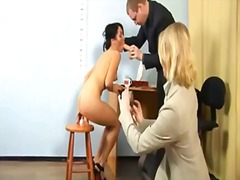 Torrid brunette gilr heads through abasing naked job interview