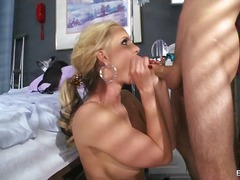 Blonde doctor is subordinated at work