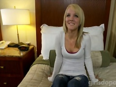 Blonde sweetheart agrees to film oral pleasure pinch