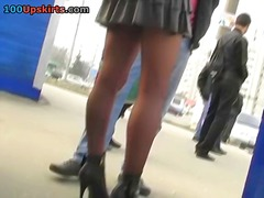 Adorable stockings upskirt voyeured here