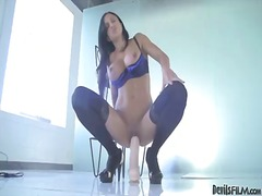 Brunette dominatrix in killer tights love buttons jade plays with a phat fucktoy