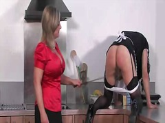 Sissy crossdresser slapped with a cane