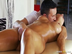 shaved, fingering, oil, foreplay, kissing, massage, boobs