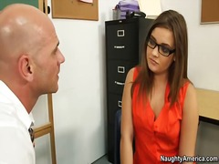 Teacher has filthy school woman ashlynn leigh deep-throat his man sausage nail