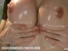Brunette getting wiped with lube rubdown