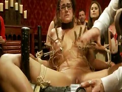 Poor ebony haired girl have tantalized round clamps and toyed