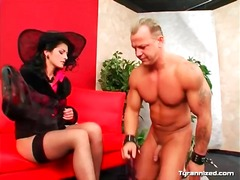 Nude stud in subjugation to clothed damsel