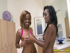 black lesbians smooch and vulva slurp and later get torn up in the arse by a white boner