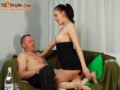 Juicy russian in strapless dress gets buzzed