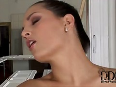 Eve angel is a smoking torrid construction worker who likes to play with her honeypot at work