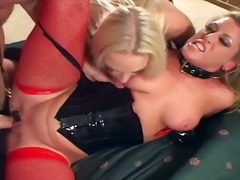 Ffm assfuck threeway with honeys in fishnet and latex