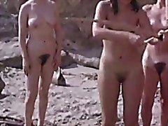 Congenital naturist ladies at a kinky beach