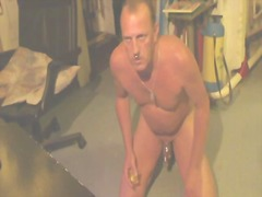 Steaming mature dude tugging off