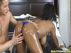 Black cutie alia starr gets her superb butt lubricated