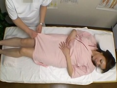 Japanese frigged to climax in voyeur rubdown movie