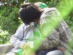 Curvaceous asian caught making out in a naughty japanese hookup movie