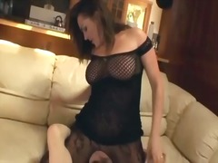 Cunnilingus with a buxom stunner in crotchless nylon