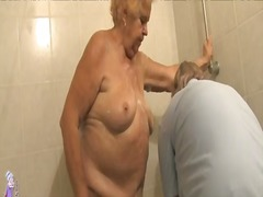 Mature bathing granny before getting pounded