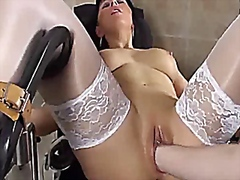 Blond mummy fist fucked in her cavernous vagina