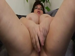 Mature bbw with meaty tits masturbates with vibrator