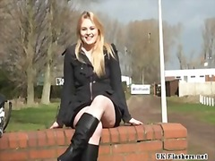 Blonde voyeur stunner sophie keagan public flashing and upskirt masturbation