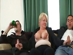 Three-way orgy with drunk granny