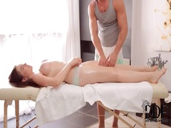 Huge natural breasts in erotic massage video