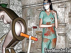 Green haired 3d honey getting fucked by a machine