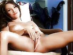Celeste starlet with small tits and bald snatch is too hot to stop masturbating