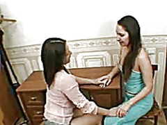 Wooly lesbian twins licking and toying