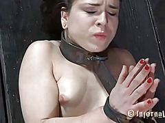 Rough hotty in shackles gets her pussy pumped