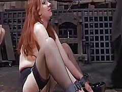 Corded up babe is punished by master for her sins
