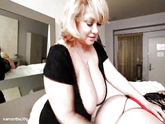 Bbw cougar fake penises sexy plump busty babe in hotel room