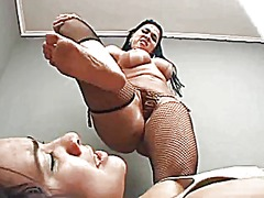 Face smacked by foot (brazilian lezdom)