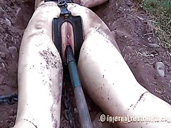 Fascinating slave bounded with legs widen wide open